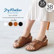 【joy walker】 レディースサイズ 重ねベルト ウエッジ サンダル 4色