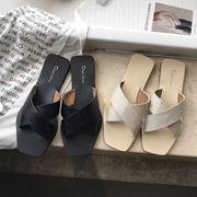 サンダル スリッパ フラット シューズ 韓国 ファッション ビーチ X字