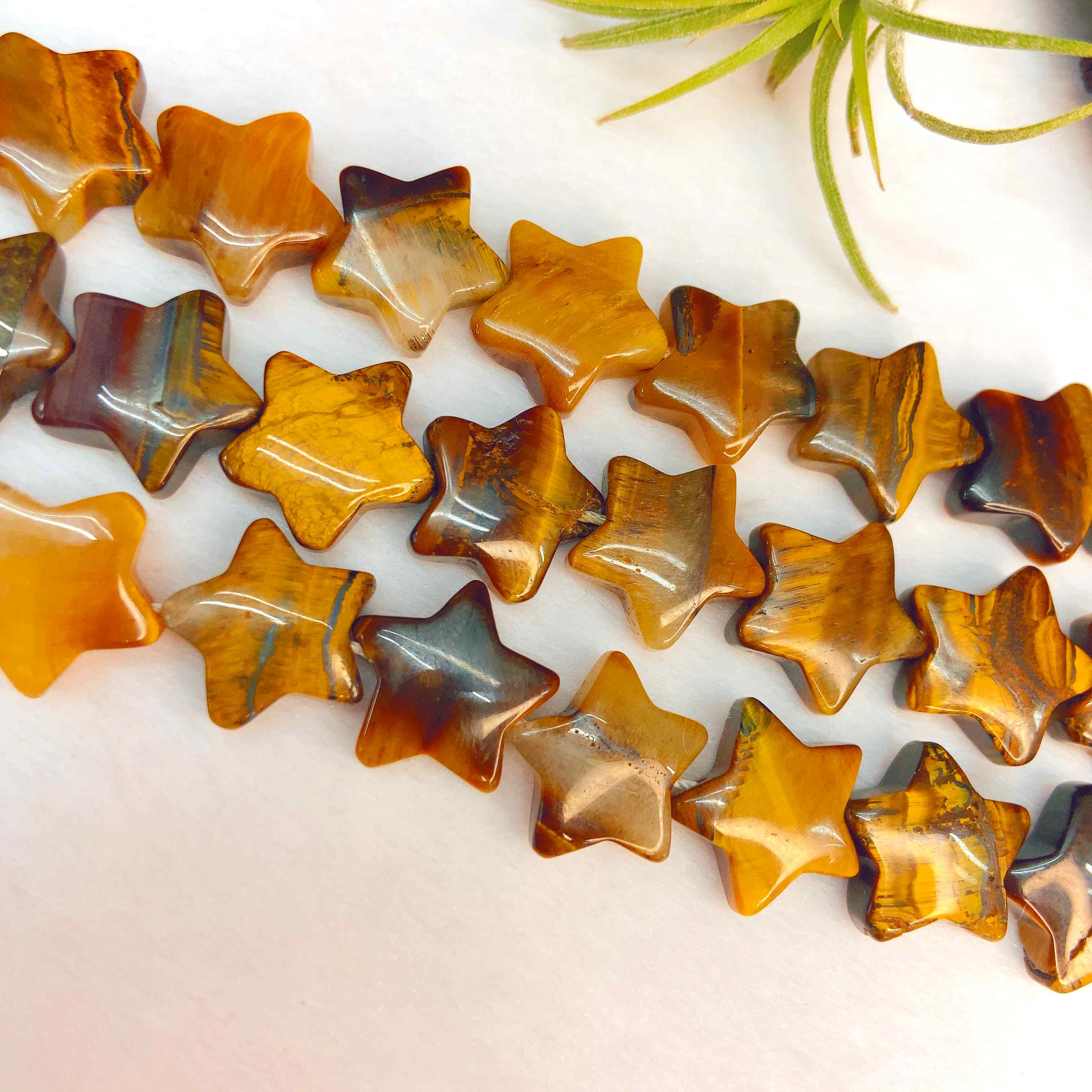 即納 日本検品発送  天然石 イエロータイガーアイ 星型 ビーズ 粒 約13~15mm 南アフリカ産