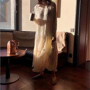 2019新品  韓国ファッション  CHIC気質  不規則  プリーツ  シフォンドレス  細身 長袖 ロングドレス