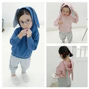 児童 春 新しいデザイン セット 男女 赤ちゃん 単一色 帽子付き ウサギの耳 セーター