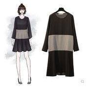【大きいサイズXL-5XL】ファッション/人気ワンピース♪ダークブルー/ブラック2色展開◆