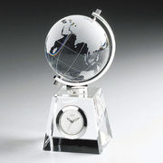 (ステーショナリー)(クリスタルオーナメント)グラスワークスナルミ グローブ クロック GW1000-11011