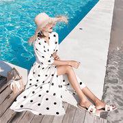 【限定SALE】大人気 新作 韓国ファッション  CHIC気質 ウエスト 七分袖  ワンピース  優しいスカート