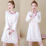 春の新商品 韓国風  韓国ファッション  CHIC気質  春の新作  シフォン  縫付  タッセル  減齢 ドレス