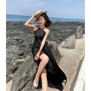 春に入る前の準備 大人の魅力 上品 女性らしい 韓国ファッション 背透けて   海辺のホリデードレス