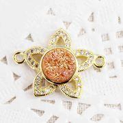 ドゥルージー コネクトパーツ フラワー型オレンジ 1.7cm  品番: 10608