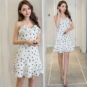 個性的なデザイン 女性美up↑ 韓国ファッション  sweet系  フリル  ドット柄  キャミ・ベアワンビス