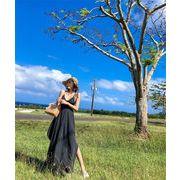 この季節に大活躍 大人の魅力 韓国ファッション  ブラック  ホリデービーチスカート  気質のドレス  女性