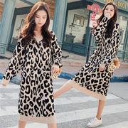 女性美up 韓国ファッション 大きいサイズ  女性  ニットセーター  ゆったりする  マイクロファットドレス