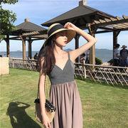 韓国ファッション  2019新品  大人気  海辺での休暇 フリル ロングスカート  気質  スリム  ビーチドレス