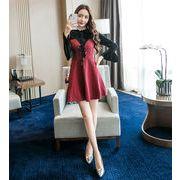 2019春の新製品発売 韓国ファッション  CHIC気質  新しい/ボトミング/  縫付 ベルベット ドレス