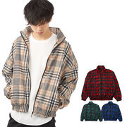 【2019春夏新作】 メンズ タータンチェック ナイロン トラックジャケット
