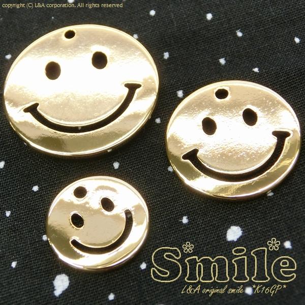 "★L&A Original Parts★ニコちゃんチャーム★K16GP&本ロジウム★最高級鍍金★""Gold Smile"""