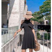自社生産  高品質 人気商品  韓国ファッション 2019夏  ノースリーブ スモールブラックスカート  ドレス