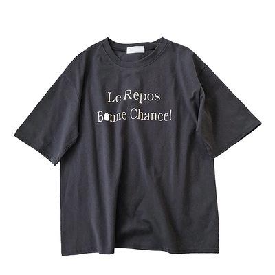 春夏 新品 ハン 風 シンプル 何でも似合う レターズ プリント レジャー 半袖Tシャツ
