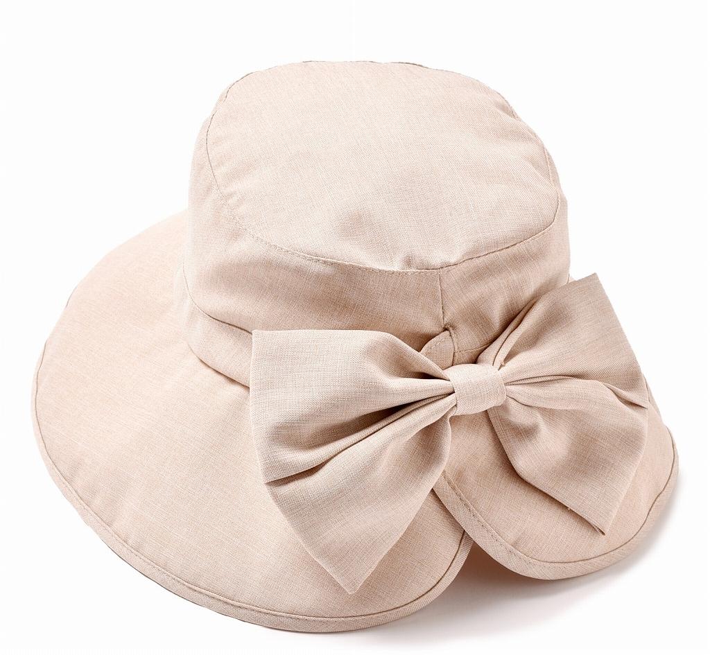 ツバ広 女優帽 ベージュ