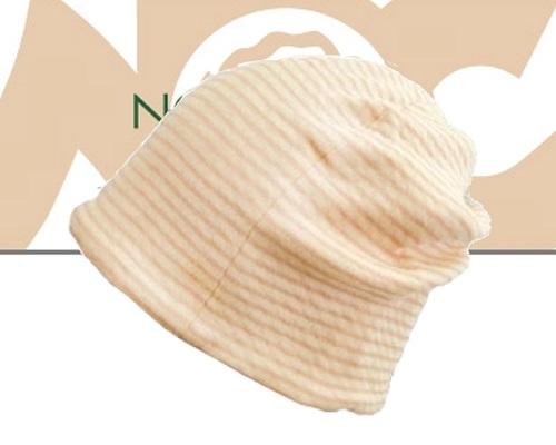 医療用帽子 オーガニックコットン 柔らかな肌触り ボーダーシャロットピンク