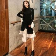 春 女性服 新しいデザイン 複数色 ワンピース 偽 気質 アンティーク調 セミハイ襟 着