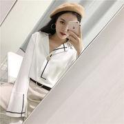 早春 ファッション 女性服 韓国風 複数色 ストライプス シャツ ルース 長袖 何でも似
