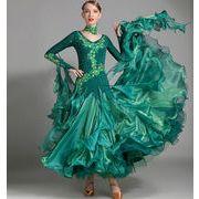a747【社交ダンス】モダンなダンス ドレスS~XXL[緑色]★