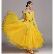 a743【社交ダンス】モダンなダンス ドレスS~XXL[黄色]★