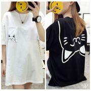 メール便661809】大きいサイズ ねこ ネコ 猫プリントシンプル カットソー Tシャツ ワンピース LL~4L