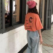 初回送料無料 2019 ハングルセレブstyle ゆったり 半袖 Tシャツ 全2色 gjfch-19as23春夏 新作