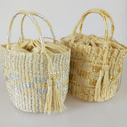 かごバッグ★カゴバッグ ハンドバッグ トートバッグ ゴールド ハンドメイド 韓国
