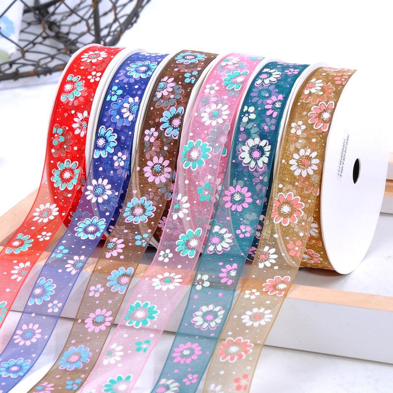 リボンテープ オーガンジー 可愛いお花リボン 手芸材料 DIY素材