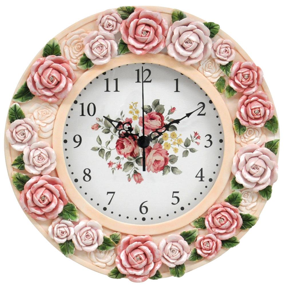 <AMANO>【掛時計】クリスタル付きローズ掛時計