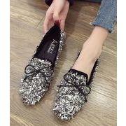 秋冬 靴 シューズ パンプス フラット 韓国 キラキラ クリスタル ファッション