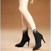 秋冬 シューズ 靴 ショートブーツ とんがりトウ ハイヒール ファッション 上品