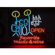 アメリカン雑貨 看板 ネオンサイン FAVORITE MUSIC&WINE フェイバリットミュージック&ワイン