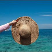 ★2019春夏新作★刺繍 日除け 日焼け止め 麦わら帽子 超大つば ビーチ オシャレ