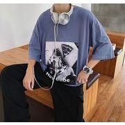 春夏新作メンズTシャツ 半袖トップス 大きいサイズ カジュアル 丸首♪全4色