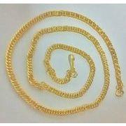 ゴールドカラーの 喜平タイプ チェーンネックレス 42cm  GOLD
