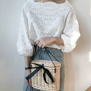【値段下げました】シャツ ブラウス 透け編み ボリューム袖 ゆったり クロッシェレース