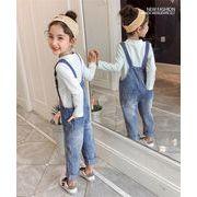 【高品質 韓国子供服 2019新作】流行のキッズ服  デニム  女の子ファッション  サスペンダーのズボン