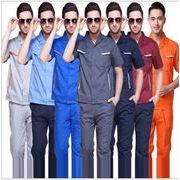 全7色 作業服 半袖 反光条 ろうどうほごようひん 通気  吸汗  棉 自動車修理防護服 さぎょうふく 保護具