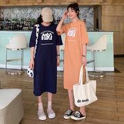 第1 番 ピープル ホーム 女性服 韓国風 シンプル ルース プリント ロングスタイル