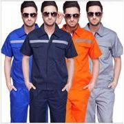 夏装 全4色 作業服 半袖 反光条 ラペル ろうどうほごようひん ジッパー 企業 工場 さぎょうふく 保護具
