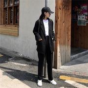春 韓国風 レジャー 小さなスーツ 長袖 アウターウェア 単一色 ハイウエスト パンツ