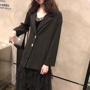 韓国風 春 新しいデザイン ルース 何でも似合う 着やせ バックル ブラック 長袖 スー