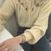 初回送料無料 2019ハングルセレブ 刺繍 セーター ニット ジャケット gjggh-19caf01