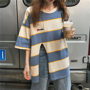 韓国風 夏 新しいデザイン 丸襟 ヘッジ ヒットカラー ストライプス デザイン スプリッ