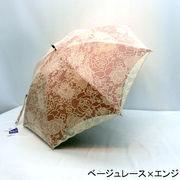 【晴雨兼用】【長傘】遮光率99.99%レース無地2重張レースバラ柄スライド式手開き長傘