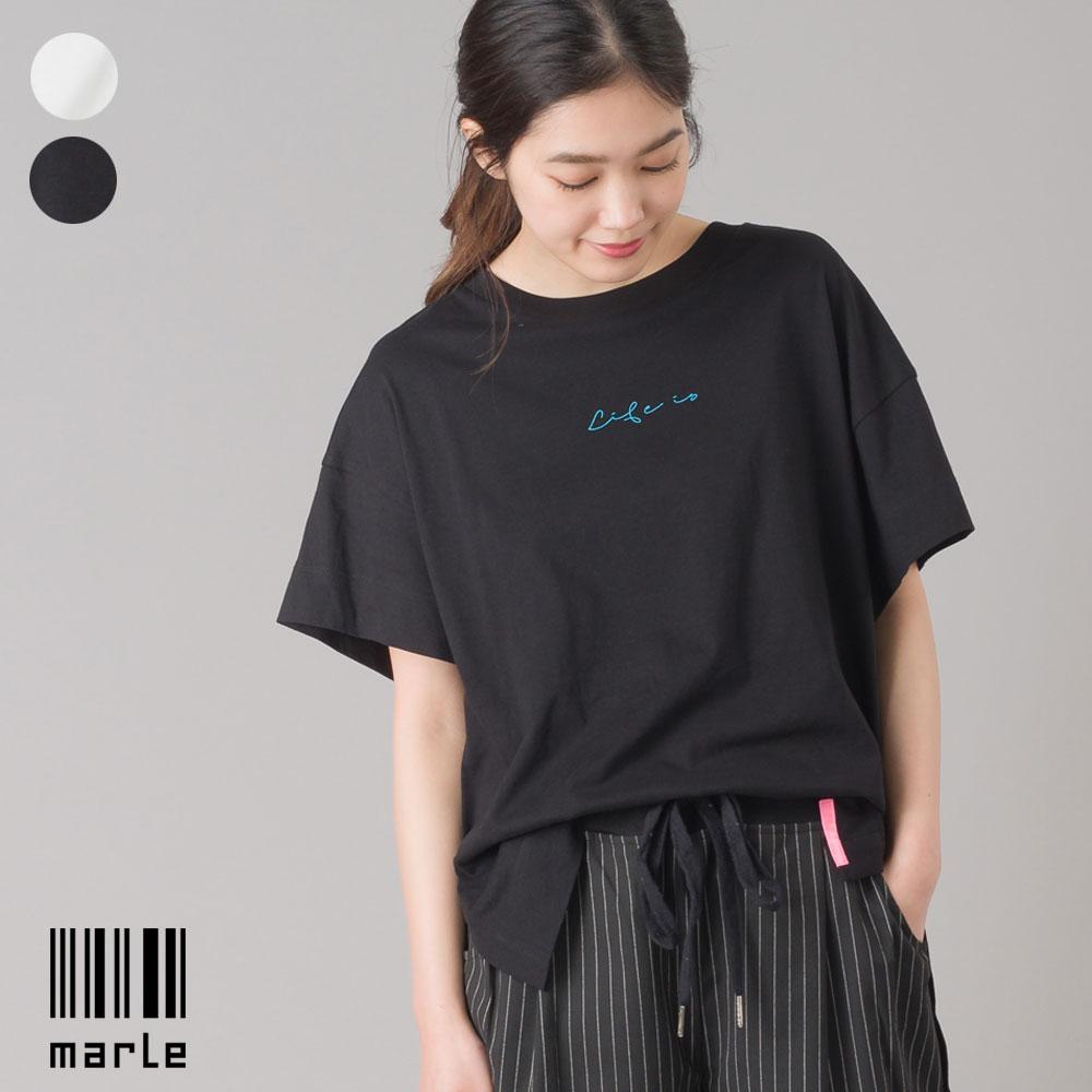 スリット入 ロゴ半袖Tシャツ LIFE