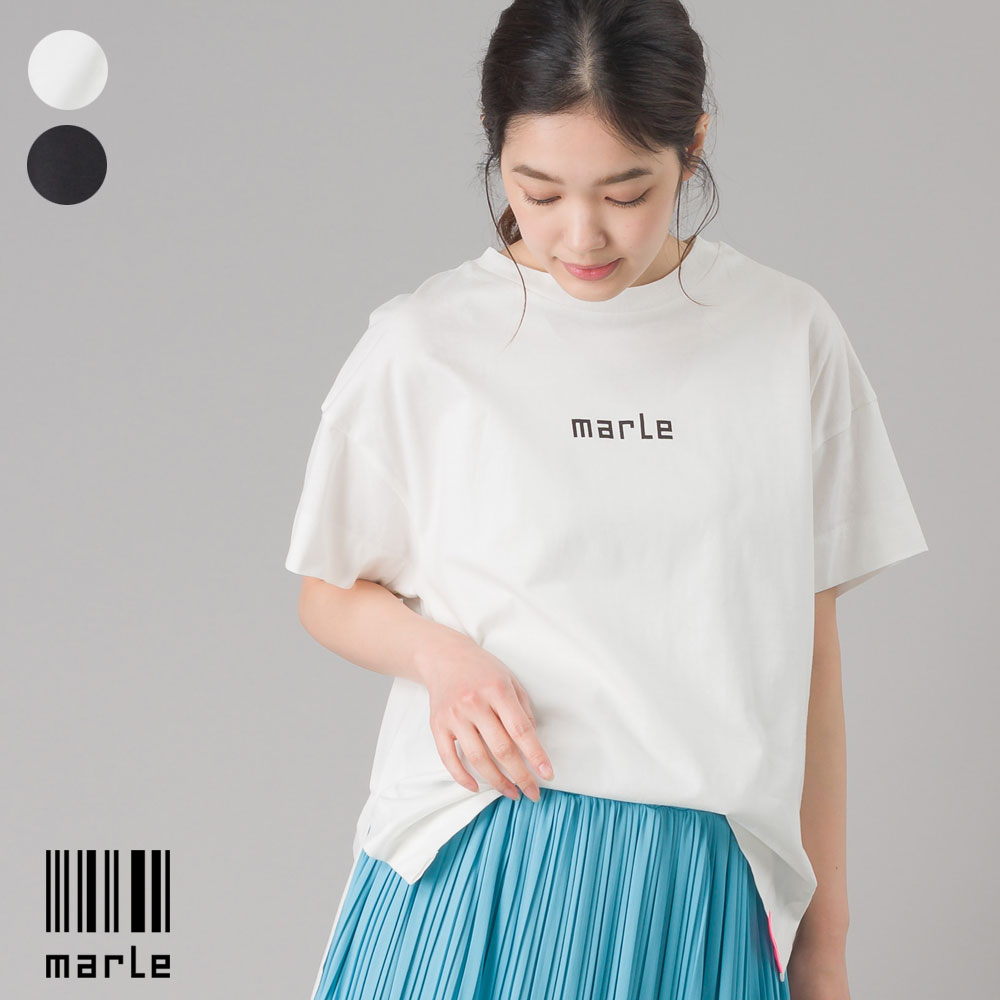 スリット入 ロゴ半袖Tシャツ marle