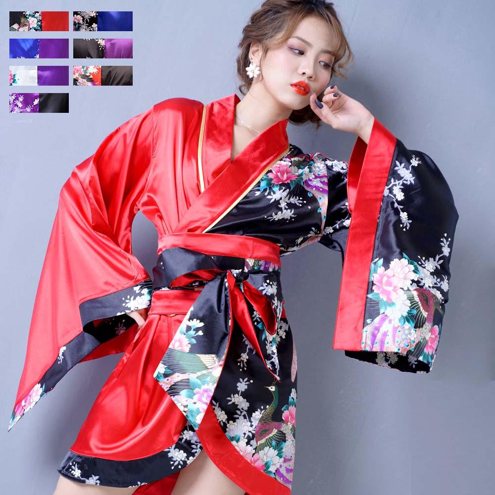0698ツートンカラー孔雀和柄着物ドレス 和柄 衣装 ダンス よさこい 花魁 コスプレ キャバドレス